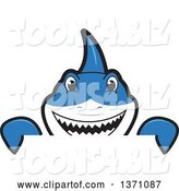 Vector Illustration of a Cartoon Shark School Mascot Looking over a Sign by Toons4Biz
