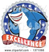 Vector Illustration of a Cartoon Shark School Mascot on an Excellence Badge by Toons4Biz