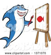 Vector Illustration of a Cartoon Shark School Mascot Painting a Fish on Canvas by Toons4Biz