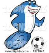 Vector Illustration of a Cartoon Shark School Mascot Playing Soccer by Toons4Biz