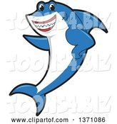 Vector Illustration of a Cartoon Shark School Mascot Pointing by Toons4Biz