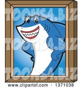 Vector Illustration of a Cartoon Shark School Mascot Portrait by Toons4Biz