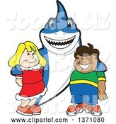 Vector Illustration of a Cartoon Shark School Mascot Posing with Students by Toons4Biz