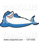 Vector Illustration of a Cartoon Shark School Mascot Resting on His Side by Toons4Biz