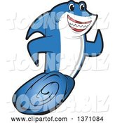 Vector Illustration of a Cartoon Shark School Mascot Running by Toons4Biz