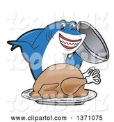 Vector Illustration of a Cartoon Shark School Mascot Serving a Roasted Thanksgiving Turkey by Toons4Biz