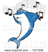 Vector Illustration of a Cartoon Shark School Mascot Singing by Toons4Biz