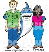 Vector Illustration of a Cartoon Shark School Mascot Standing with Student Parents by Toons4Biz