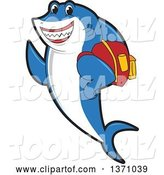 Vector Illustration of a Cartoon Shark School Mascot Student Wearing a Backpack by Toons4Biz