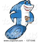 Vector Illustration of a Cartoon Shark School Mascot Swimming with an American Football by Toons4Biz