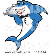 Vector Illustration of a Cartoon Shark School Mascot Waiter Holding a Cloche Platter by Toons4Biz