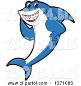 Vector Illustration of a Cartoon Shark School Mascot Waving by Toons4Biz