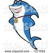 Vector Illustration of a Cartoon Shark School Mascot Wearing a Sports Medal by Toons4Biz