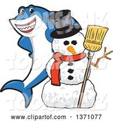 Vector Illustration of a Cartoon Shark School Mascot with a Christmas Snowman by Toons4Biz