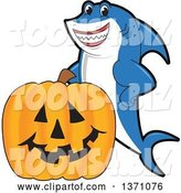 Vector Illustration of a Cartoon Shark School Mascot with a Jackolantern Pumpkin by Toons4Biz