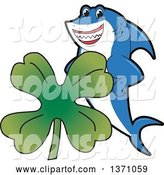 Vector Illustration of a Cartoon Shark School Mascot with a St Patricks Day Four Leaf Clover by Toons4Biz