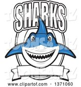 Vector Illustration of a Cartoon Shark School Mascot with Text over a Blank Banner and Shield by Toons4Biz
