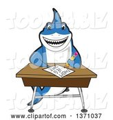 Vector Illustration of a Cartoon Shark School Mascot Writing at a Desk by Toons4Biz