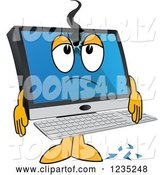 Vector Illustration of a Cartoon Shot PC Computer Mascot by Toons4Biz