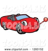 Vector Illustration of a Cartoon Sick Red Convertible Car Mascot with a Thermometer by Toons4Biz