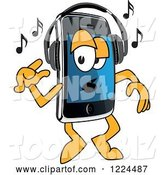 Vector Illustration of a Cartoon Smart Phone Mascot Dancing and Listening to Music by Toons4Biz