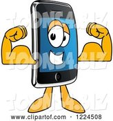 Vector Illustration of a Cartoon Smart Phone Mascot Flexing by Toons4Biz