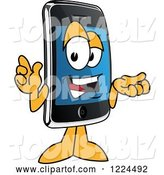 Vector Illustration of a Cartoon Smart Phone Mascot Gesturing and Talking by Toons4Biz