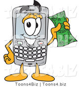 Vector Illustration of a Cartoon Smart Phone Mascot Holding a Bank Note by Toons4Biz