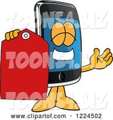 Vector Illustration of a Cartoon Smart Phone Mascot Holding a Clearance Tag by Toons4Biz