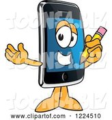 Vector Illustration of a Cartoon Smart Phone Mascot Holding a Pencil by Toons4Biz