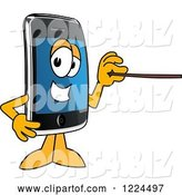 Vector Illustration of a Cartoon Smart Phone Mascot Holding a Pointer Stick by Toons4Biz