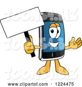 Vector Illustration of a Cartoon Smart Phone Mascot Holding a Sign by Toons4Biz