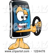 Vector Illustration of a Cartoon Smart Phone Mascot Holding a Steering Wheel by Toons4Biz