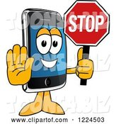 Vector Illustration of a Cartoon Smart Phone Mascot Holding a Stop Sign by Toons4Biz