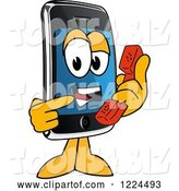 Vector Illustration of a Cartoon Smart Phone Mascot Holding a Telephone by Toons4Biz
