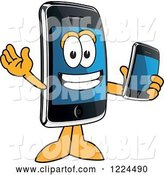 Vector Illustration of a Cartoon Smart Phone Mascot Holding Another Telephone by Toons4Biz