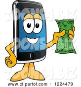 Vector Illustration of a Cartoon Smart Phone Mascot Holding Cash by Toons4Biz