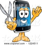 Vector Illustration of a Cartoon Smart Phone Mascot Holding Scissors by Toons4Biz