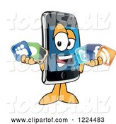 Vector Illustration of a Cartoon Smart Phone Mascot Holding Social Media Icons by Toons4Biz