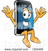 Vector Illustration of a Cartoon Smart Phone Mascot Jumping by Toons4Biz