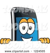 Vector Illustration of a Cartoon Smart Phone Mascot Looking over a Sign by Toons4Biz