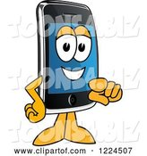 Vector Illustration of a Cartoon Smart Phone Mascot Pointing Outwards by Toons4Biz