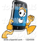 Vector Illustration of a Cartoon Smart Phone Mascot Running by Toons4Biz