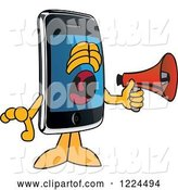 Vector Illustration of a Cartoon Smart Phone Mascot Screaming into a Megaphone by Toons4Biz