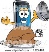 Vector Illustration of a Cartoon Smart Phone Mascot Serving a Roasted Thanksgiving Turkey by Toons4Biz