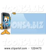 Vector Illustration of a Cartoon Smart Phone Mascot Standing by a Blue Sign by Toons4Biz