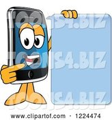 Vector Illustration of a Cartoon Smart Phone Mascot Talking with a Speech Balloon by Toons4Biz