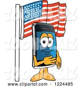 Vector Illustration of a Cartoon Smart Phone Mascot Under an American Flag by Toons4Biz