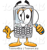 Vector Illustration of a Cartoon Smart Phone Mascot Using a Magnifying Glass by Toons4Biz