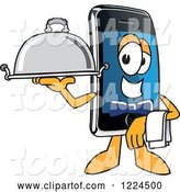 Vector Illustration of a Cartoon Smart Phone Mascot Waiter by Toons4Biz